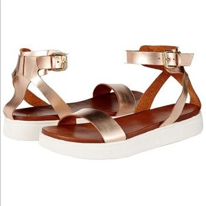 MIA platform rose gold ankle strap sandals 7.5